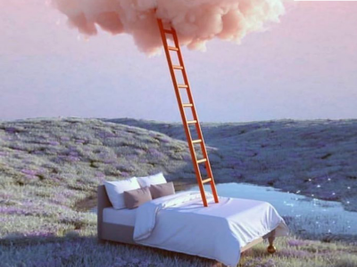 Bed in beautiful landscape with a ladder reaching to a pink cloud the sky